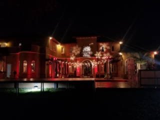 Miami events private Christmas party production string lights and gobo lighting